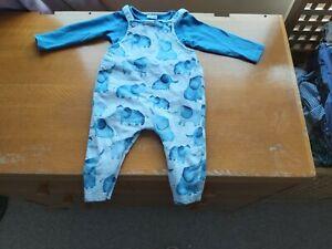 NEXT Baby Boys Elephant Dungarees & Bodysuit Set 9-12 Months