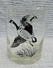 Old Canadian Canada Goose vintage black on clear whiskey liquor glass FREE S/H