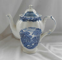 ANTIQUE 19th CENTURY BOOTHS 'BRITISH SCENERY' Blue & White Pattern TEAPOT 21cm