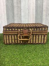 Vintage Picnic Set in Wicker Basket Hamper Case VW Camping Retro