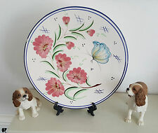 Wall Art Pottery Plate - Hand Painted - Blue Rim - Pink Flower- Butterfly - 26cm