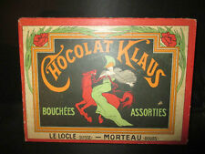 ancienne grande boîte chocolat Klaus Morteau Doubs Art Nouveau fin XIX ème