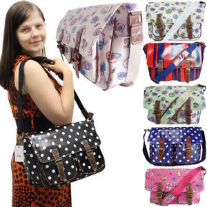 LYDC Girls School Satchel Womens College Work OilCloth Saddle Bag Ladies Handbag