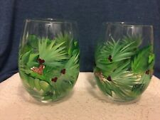 Pair of Hand Painted Christmas Drinking Glasses