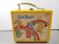 Vintage Care Bears Yellow Plastic Lunch Box Thermos 1983 Aladdin Industries