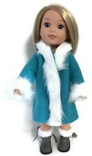 """Turquoise Fleece Coat fits 14.5"""" American Girl Wellie Wishers Doll Clothes"""