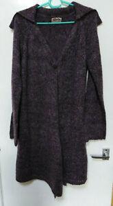 Aimee long cardigan long sleeves single button high/low hem Mauve M/L