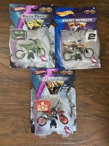Lot Of 3: Troy Lee, Flash Fire, Jeremy McGrath #2 MotoX Series Hot Wheels Toys