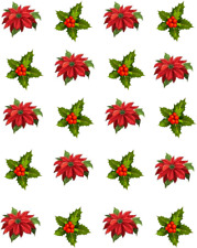 Poinsettia and Holly Leaves / Christmas  Waterslide Nail Decals/Nail art