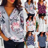 Damen Bluse V-Ausschnitt Reißverschluss Oberteile Freizeit Tunika Hemd T-shirt