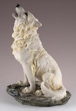 """Wolf Howling Figurine Resin 8"""" High - Highly Detailed - New In Box"""