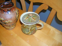 Lot  of Two Vintage Small Vase & Lidded Cup AMAZING Detail Vietnamese? FREE SHI