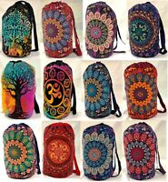 Mandala Backpack Indian Hippie Cotton Unisex Multipurpose Bag Boho Casual Bags