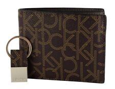 Calvin Klein Men's Bifold Designer Wallet Brown Gift Box With Key Fob Set 79544