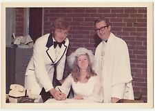 Vintage 70s PHOTO Young Wedding Couple Signing License w/ Minister Reverend