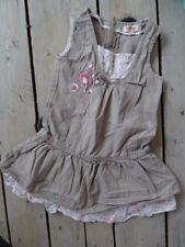 Robe sans manches taupe grise col et jupon à fleurs SHINY Taille 4 ans