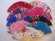 2 x Handfächer Taschenfächer aus Bambus und Stoff mit eleganten Farbton Motive