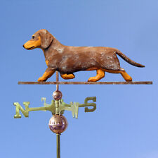 Dachshund Smooth Hand Carved Hand Painted Basswood Dog Weathervane Red Dapple