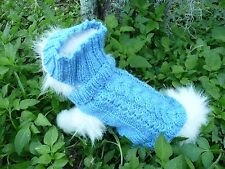 XXS  handmade knit  Blue dog sweater&headband set
