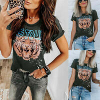 Women Summer Casual O-Neck Tops Blouse Short Sleeve Letter Tiger Printed T-Shirt