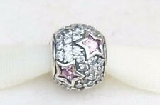 Genuine Pandora  Silver Pink Follow The Stars Pave Charm Retired  791382PCZ