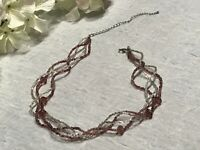 Multi-Strand Amethyst Glass Seed & Faceted Bead Torsade Silver Tone Necklace