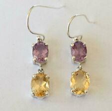 925 Sterling Silver Amethyst & Citrine Earrings Multi Gemstone Dangle Earrings