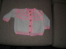 NEW HAND KNITTED CARDIGAN  CREAM & PINK    2 -4  YEARS APP