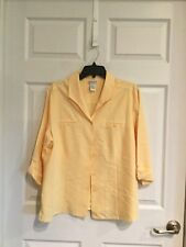 Fashion bug women's x Large yellow blouse collar button down 3/4 sleeve euc