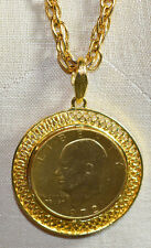 VTG Gold Plated Eisenhower 1972 One Dollar Coin Pendant Necklace