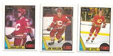 87-88 O-Pee-Chee.#126 Joe Mullen,#203 Hakan Loob,#212 Joel Otto, Calgary Flames