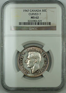 1947 Canada 50c Half Dollar *Curved 7* NGC MS-62, PL Prooflike Silver Coin