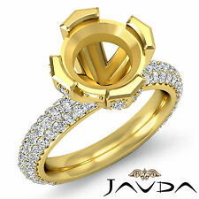 Pave Diamond Engagement Half Eternity Ring 1.5C 18k Yellow Gold Round Semi Mount