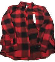 St Johns Bay Men's Shirt XL Red Buffalo Plaid Button Front Long Sleeve NWT