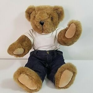 """VERMONT TEDDY BEAR Brown Teddy Mom Tattoo 15"""" Jointed Articulated Ex Cond Clean"""