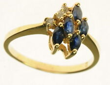 Ladies 14K Solid Yellow Gold Blue Sapphire Round Diamond Estate Ring J209002