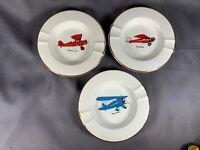 "3 Ceramic White Round Ashtrays 3 Different Airplane Center Decoration 5 1/2"" j24"