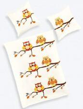 Bettwäsche Kinder Winter 2 tlg 135x200 cm Kinderbettwäsche Warm Fein Biber Eulen
