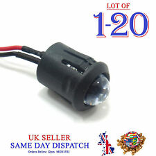 10mm 12V DC Light Emitter Clear Pre-Wired LED 20cm Cable Diode + Holder