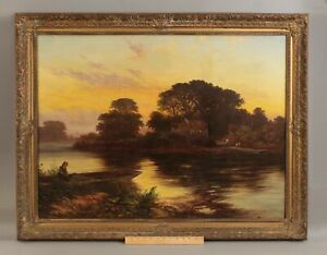 19thC Antique WALTER WILLIAMS Tonalist English Country Landscape Oil Painting NR