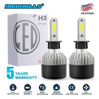 PAIR S2 H3 1320W 198000LM LED Headlight Conversion Kit Bulbs 6000K White CREE