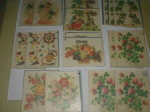 Vtg 1960's Meyercord Decals 16pc LOT Fish Floral Flowers Mexican Couple CHICAGO