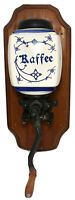 Vintage KAFFEE Grinder Blue & White Ceramic Canister & Metal Coffee Wall Mounted