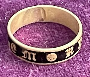 Antique Enamelled Mourning Ring 9ct Gold? (untested) In Memory Of - Please Read
