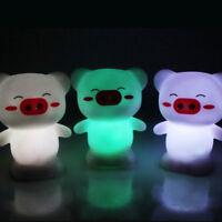 Colorful Lovely Happy Pig Shape LED Night Light Kid's Bedroom Lamp  Decoration