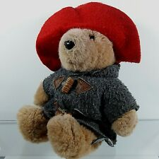 """Vtg.1988 Paddington Bear by EDEN Stuffed Plush, Wood Leather Buttons Red Hat 10"""""""