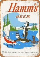 "1956 Hamm's Beer Bears Fishing Rustic Retro Metal Sign 7"" x 10"""