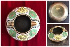 Brass Half Dome Round Ashtray Enamel Cloisonne India Hindu Elephant Ship Gods