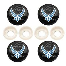 4 Black License Plate Frame Tag Screw Snap Cap Covers - USAF AIR FORCE BC004