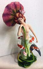 Sheila Wolk Mermaid Collection Pondering Koi Lotus Leaf Harmony Figurine Statue